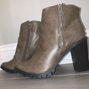 Chic charcoal gray boots with thick black sole